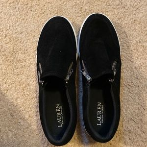 Ralph Lauren(UGC) black leather slip ons size 8.5